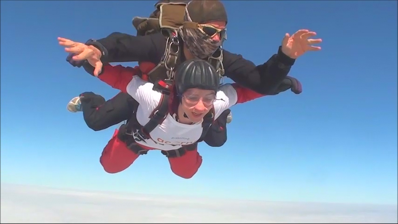 Charlotte skydives for Acorns